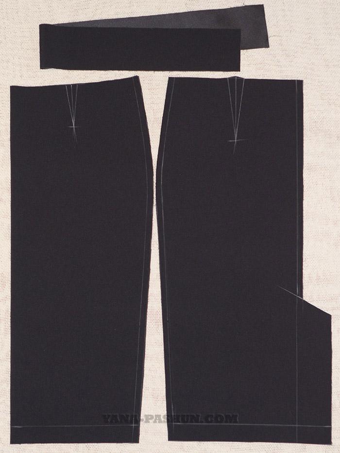 раскрой ткани по выкройке юбки-карандаш